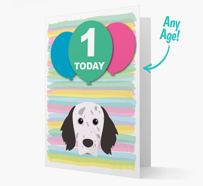 Ages 1-18 Birthday Card with English Setter Yappicon