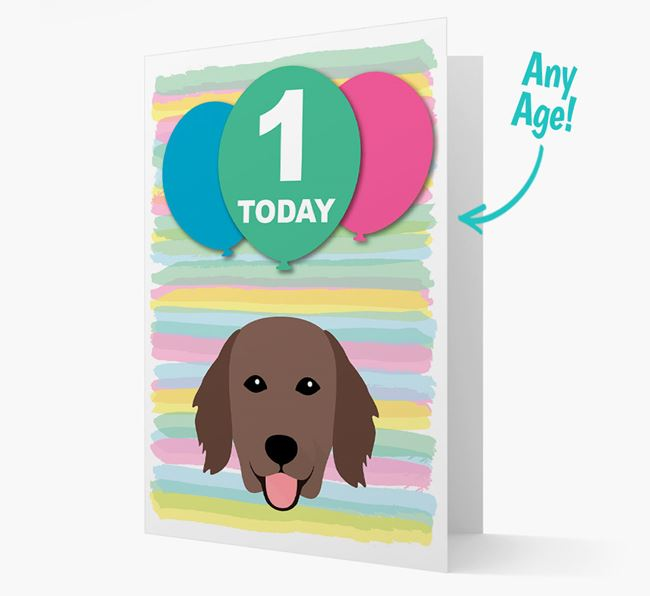 Ages 1-18 Birthday Card with Flat-Coated Retriever Yappicon