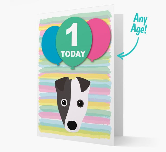 Ages 1-18 Birthday Card with Fox Terrier Yappicon