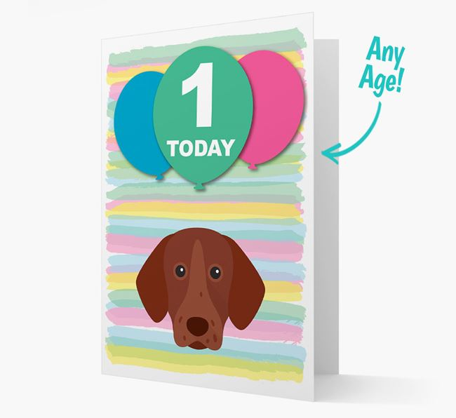 Ages 1-18 Birthday Card with German Shorthaired Pointer Yappicon