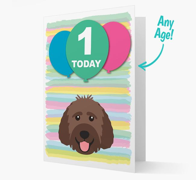 Ages 1-18 Birthday Card with Goldendoodle Yappicon