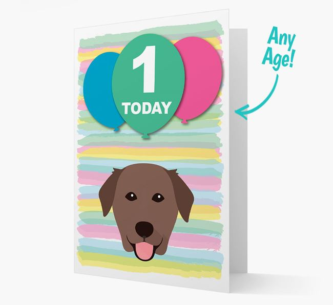 Ages 1-18 Birthday Card with Golden Labrador Yappicon