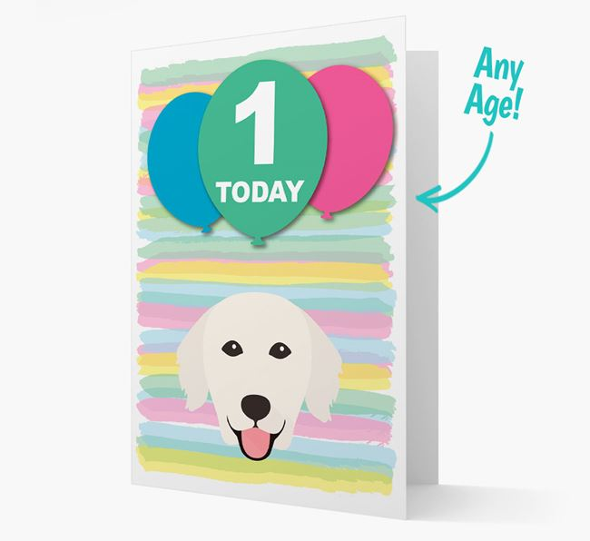 Ages 1-18 Birthday Card with Golden Retriever Yappicon