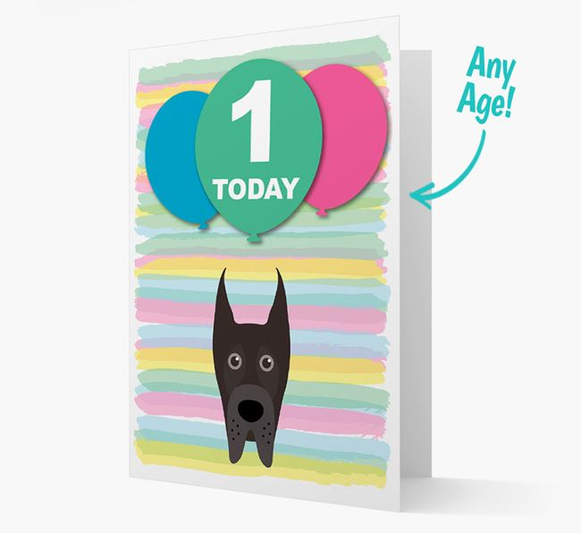 Ages 1-18 Birthday Card with Great Dane Yappicon