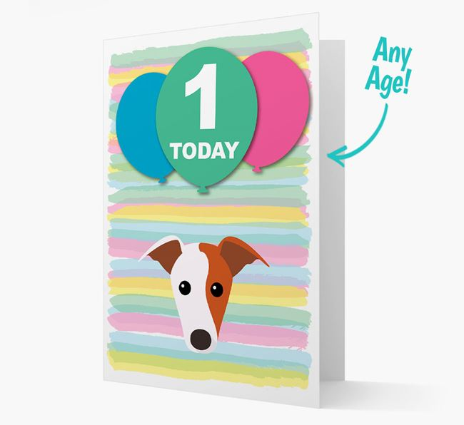 Ages 1-18 Birthday Card with Greyhound Yappicon