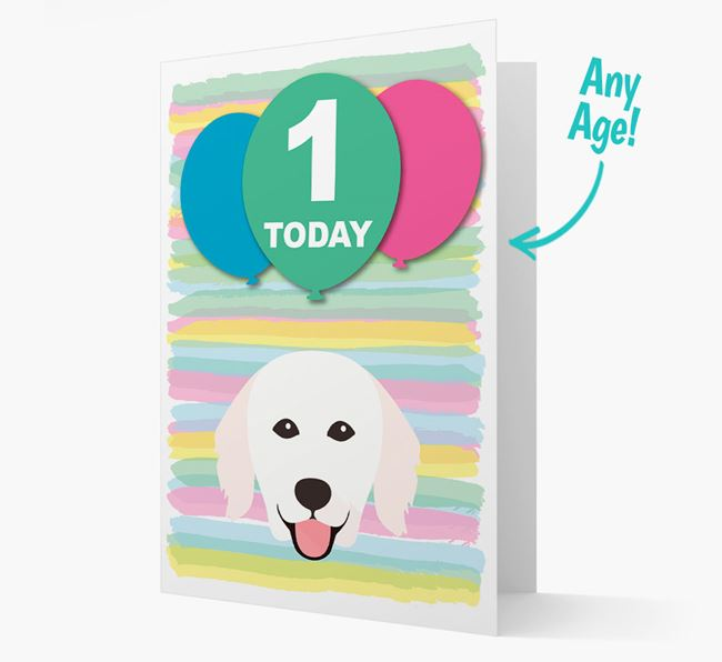 Ages 1-18 Birthday Card with Hungarian Kuvasz Yappicon