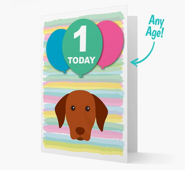 Ages 1-18 Birthday Card with Hungarian Vizsla Yappicon