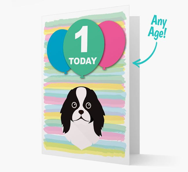 Ages 1-18 Birthday Card with Japanese Chin Yappicon