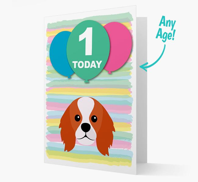 Ages 1-18 Birthday Card with King Charles Spaniel Yappicon