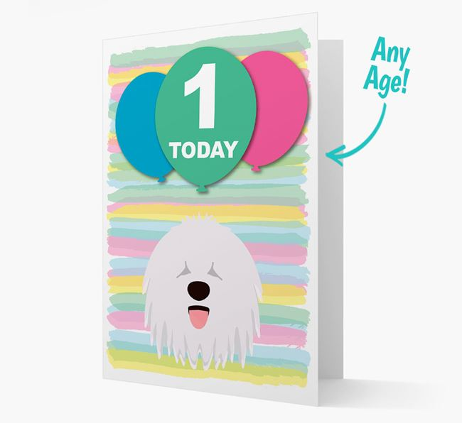Ages 1-18 Birthday Card with Komondor Yappicon