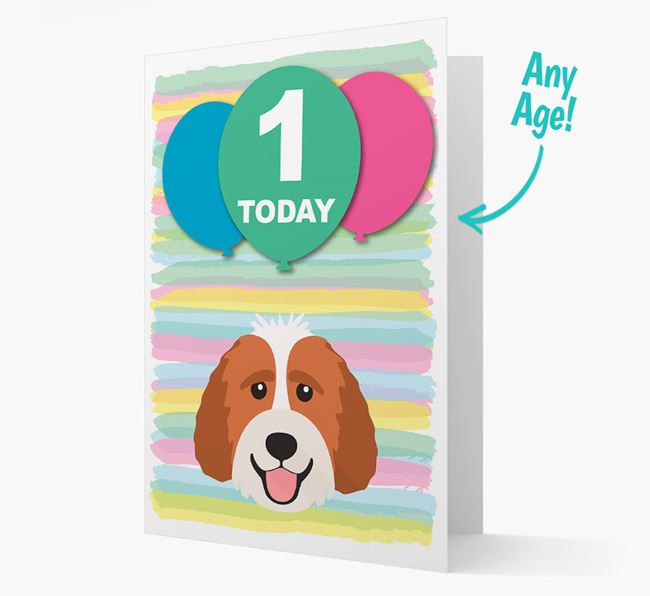 Ages 1-18 Birthday Card with Labradoodle Yappicon