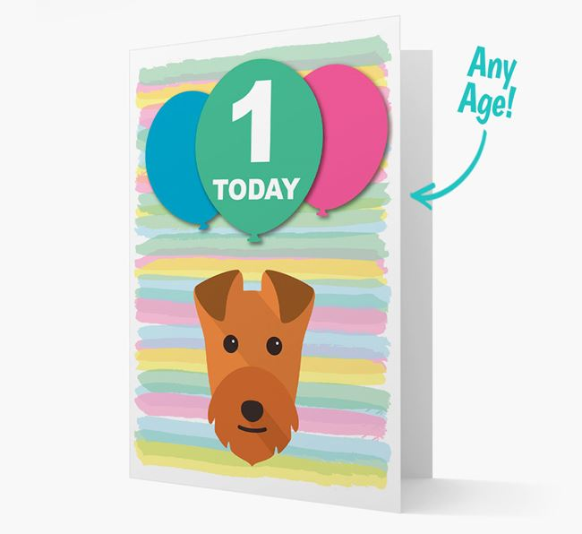 Ages 1-18 Birthday Card with Lakeland Terrier Yappicon