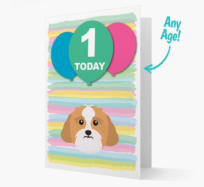 Ages 1-18 Birthday Card with Lhasa Apso Yappicon