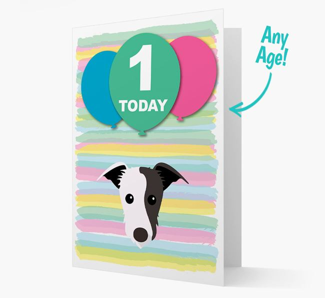 Ages 1-18 Birthday Card with Lurcher Yappicon