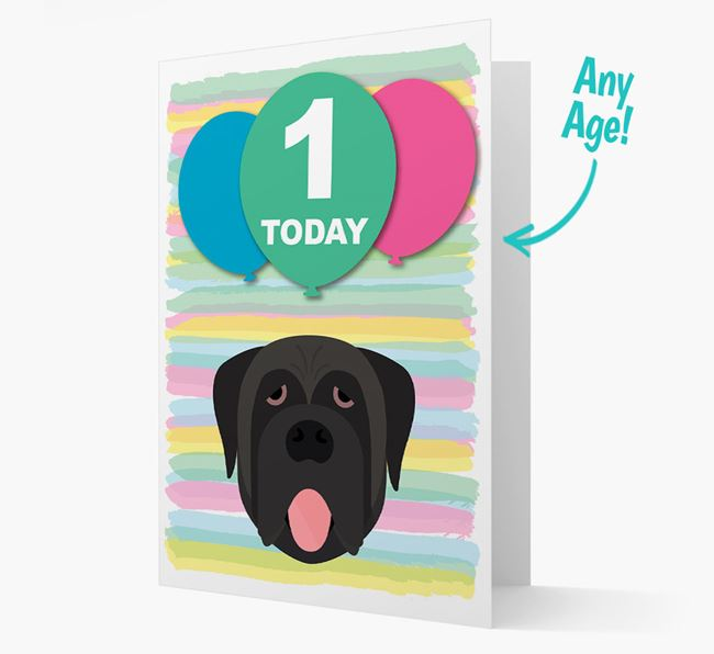 Ages 1-18 Birthday Card with Mastiff Yappicon