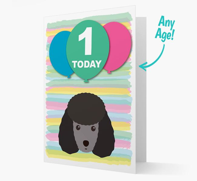 Ages 1-18 Birthday Card with Miniature Poodle Yappicon