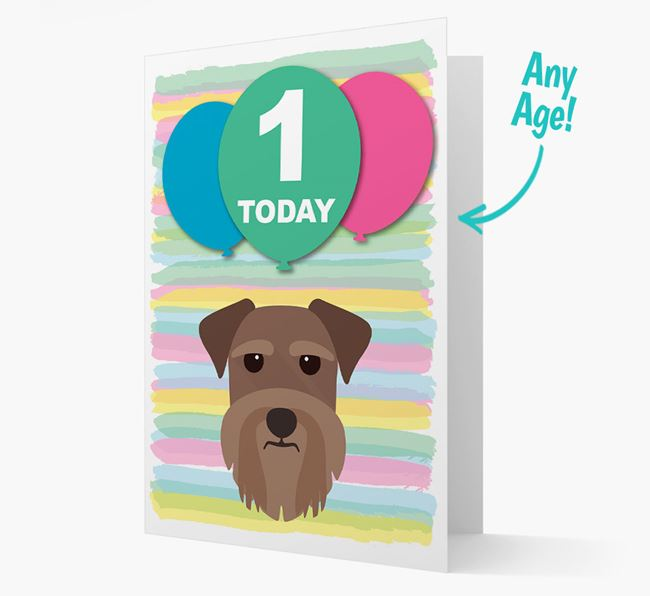 Ages 1-18 Birthday Card with Miniature Schnauzer Yappicon