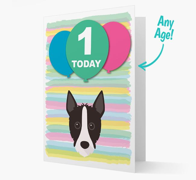 Ages 1-18 Birthday Card with Mixed Breed Yappicon