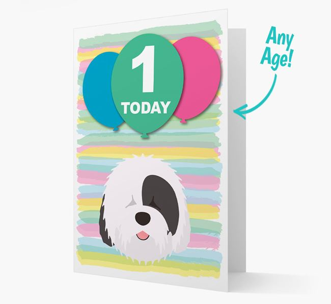 Ages 1-18 Birthday Card with Old English Sheepdog Yappicon