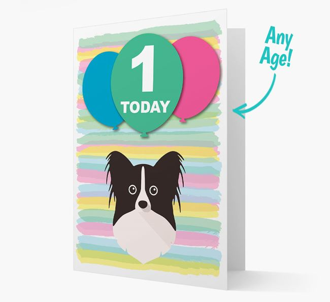 Ages 1-18 Birthday Card with Papillon Yappicon