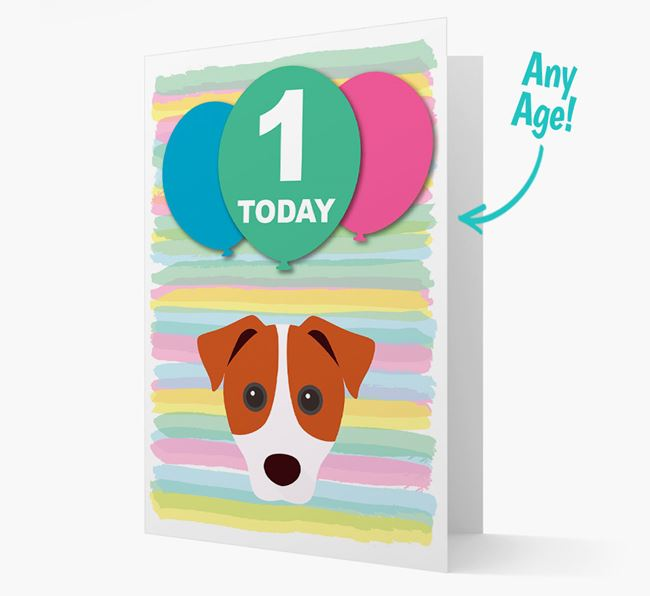 Ages 1-18 Birthday Card with Parson Russell Terrier Yappicon