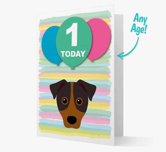 Ages 1-18 Birthday Card with Patterdale Terrier Yappicon