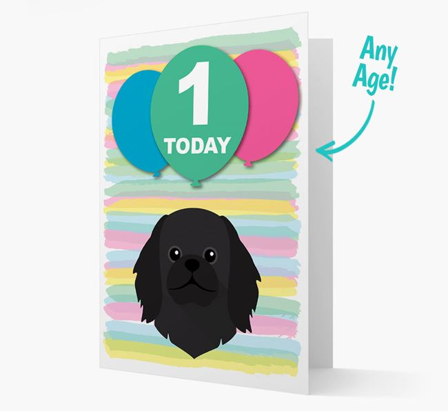 Ages 1-18 Birthday Card with Pekingese Yappicon