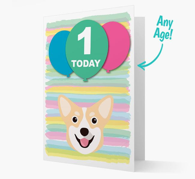 Ages 1-18 Birthday Card with Pembroke Welsh Corgi Yappicon