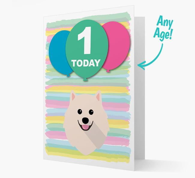 Ages 1-18 Birthday Card with Pomeranian Yappicon