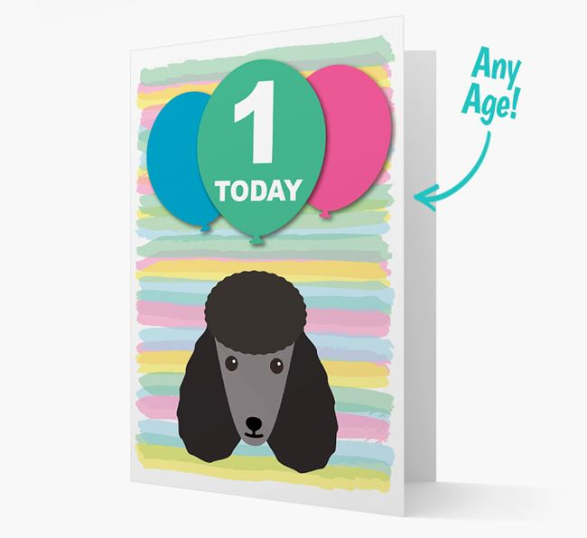 Ages 1-18 Birthday Card with Poodle Yappicon