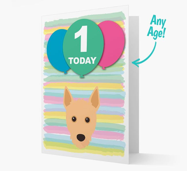 Ages 1-18 Birthday Card with Portuguese Podengo Yappicon