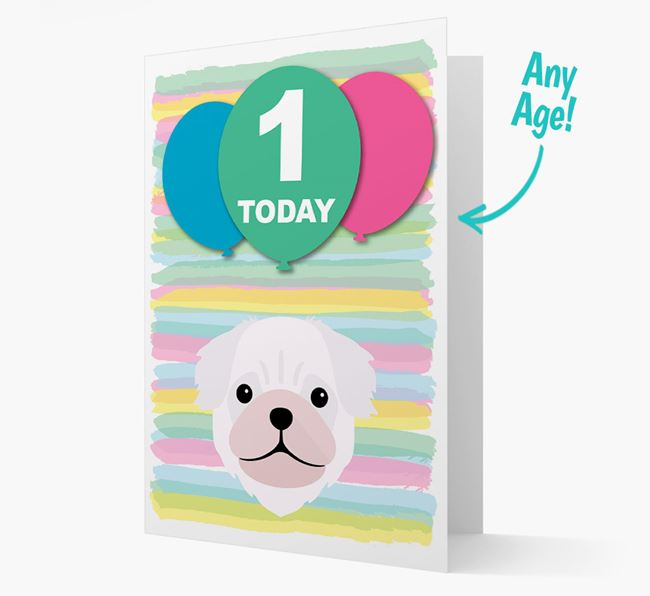 Ages 1-18 Birthday Card with Pug Yappicon