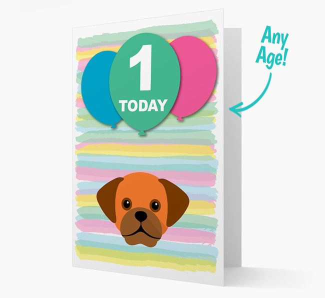 Ages 1-18 Birthday Card with Puggle Yappicon