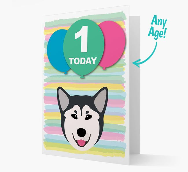 Ages 1-18 Birthday Card with Rescue Dog Yappicon