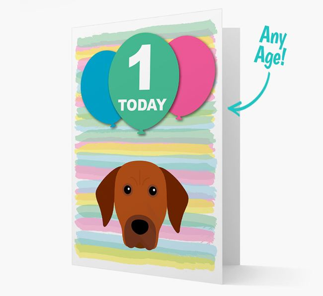 Ages 1-18 Birthday Card with Rhodesian Ridgeback Yappicon