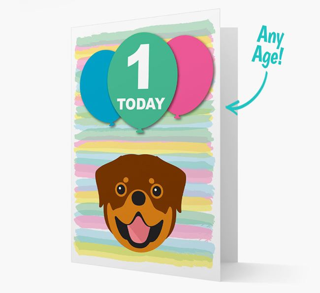 Ages 1-18 Birthday Card with Rottweiler Yappicon