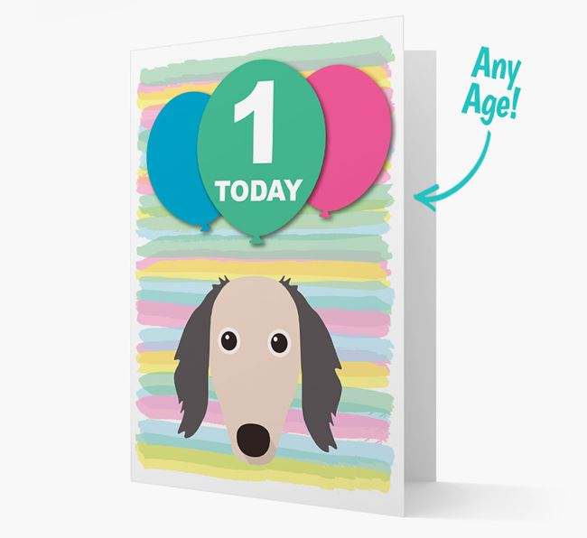 Ages 1-18 Birthday Card with Saluki Yappicon