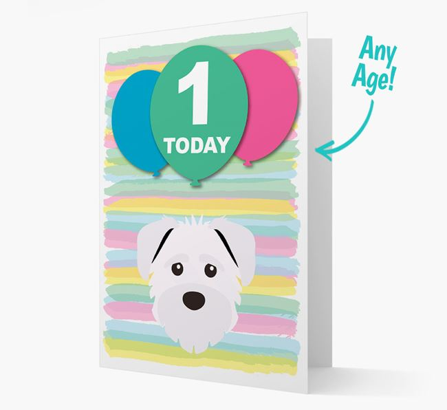 Ages 1-18 Birthday Card with Schnoodle Yappicon