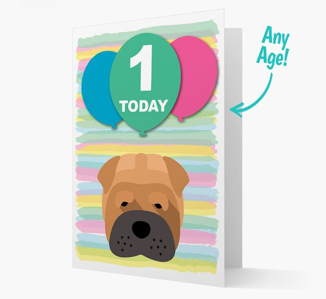 Ages 1-18 Birthday Card with Shar Pei Yappicon