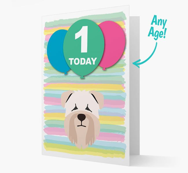 Ages 1-18 Birthday Card with Soft Coated Wheaten Terrier Yappicon