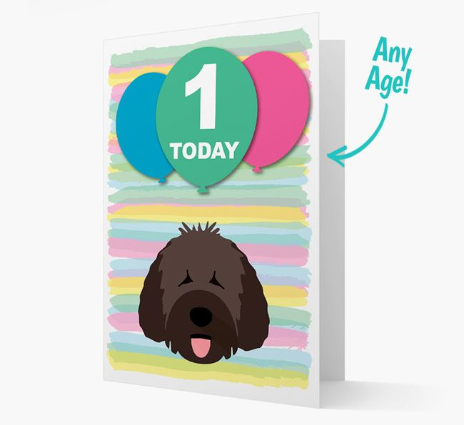 Ages 1-18 Birthday Card with Spanish Water Dog Yappicon