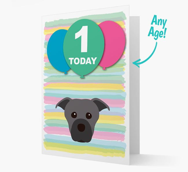 Ages 1-18 Birthday Card with Staffordshire Bull Terrier Yappicon