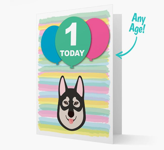 Ages 1-18 Birthday Card with Tamaskan Yappicon