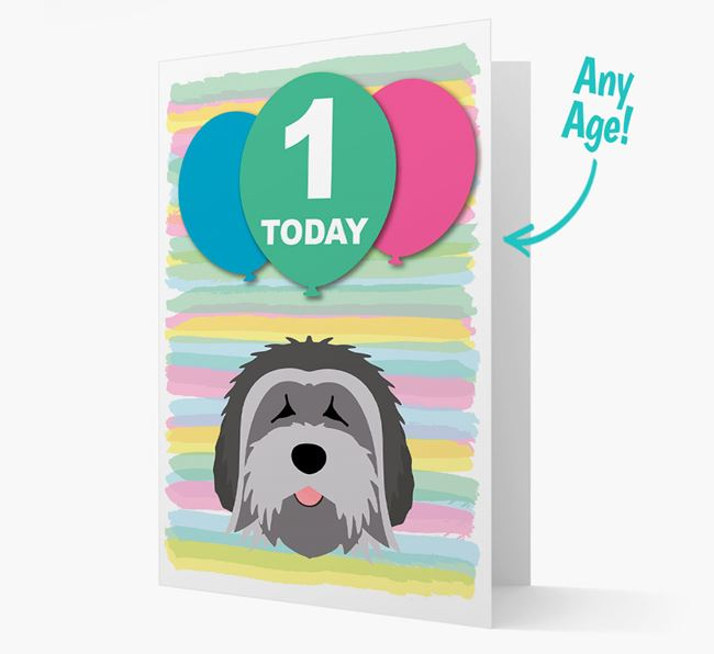 Ages 1-18 Birthday Card with Tibetan Terrier Yappicon