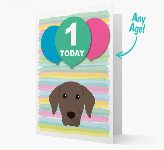 Ages 1-18 Birthday Card with Weimaraner Yappicon
