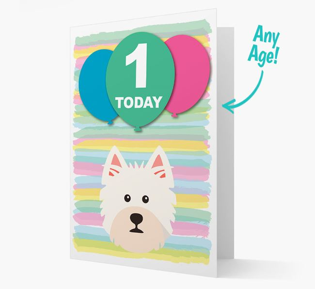 Ages 1-18 Birthday Card with West Highland White Terrier Yappicon