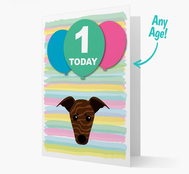 Ages 1-18 Birthday Card with Whippet Yappicon