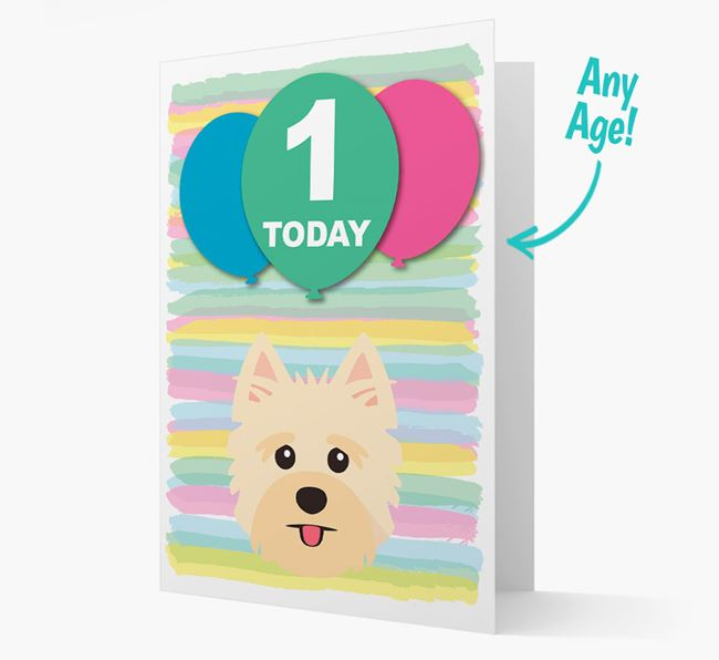 Ages 1-18 Birthday Card with Yorkshire Terrier Yappicon