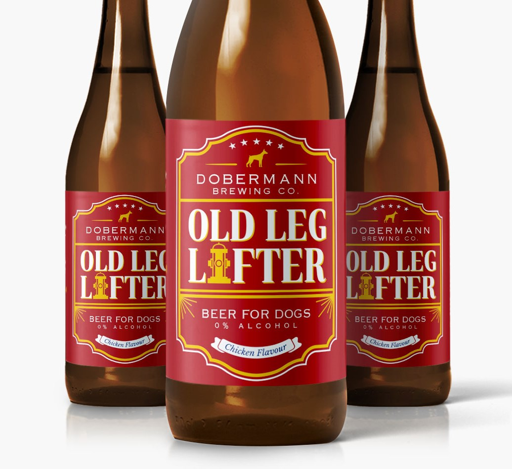 Dobermann Old Leg Lifter Dog Beer close up on label