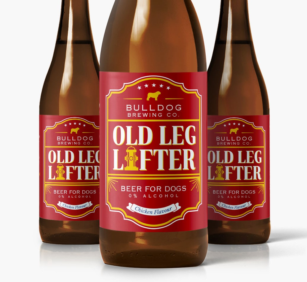 English Bulldog Old Leg Lifter Dog Beer close up on label